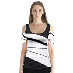 White and black harmony Butterfly Sleeve Cutout Tee