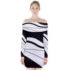 White And Black Harmony Long Sleeve Off Shoulder Dress