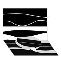 Black light Circle Bottom 3D Greeting Card (7x5)