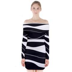 Black light Long Sleeve Off Shoulder Dress