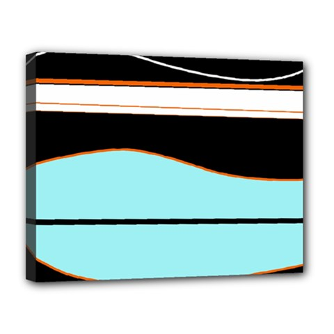 Cyan, black and white waves Canvas 14  x 11