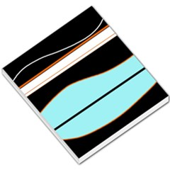 Cyan, black and white waves Small Memo Pads