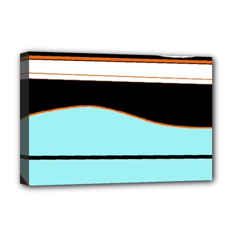 Cyan, black and white waves Deluxe Canvas 18  x 12