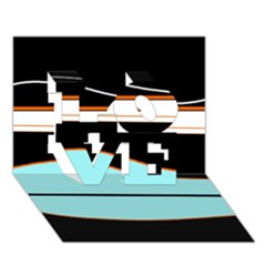 Cyan, black and white waves LOVE 3D Greeting Card (7x5)
