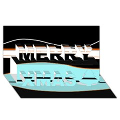 Cyan, black and white waves Merry Xmas 3D Greeting Card (8x4)