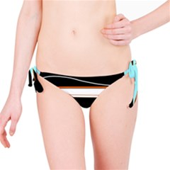 Cyan, black and white waves Bikini Bottom
