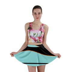 Cyan, black and white waves Mini Skirt