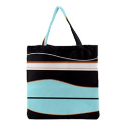 Cyan, black and white waves Grocery Tote Bag
