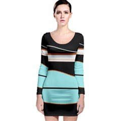Cyan, black and white waves Long Sleeve Bodycon Dress