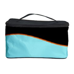Cyan, black and white waves Cosmetic Storage Case