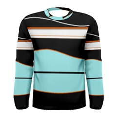 Cyan, black and white waves Men s Long Sleeve Tee