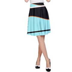 Cyan, black and white waves A-Line Skirt