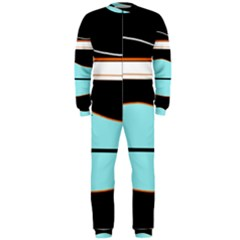 Cyan, black and white waves OnePiece Jumpsuit (Men)