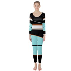 Cyan, black and white waves Long Sleeve Catsuit