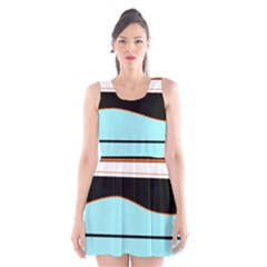 Cyan, black and white waves Scoop Neck Skater Dress