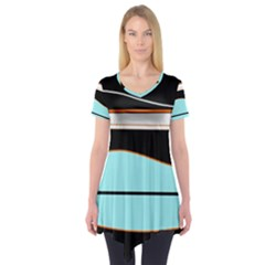 Cyan, black and white waves Short Sleeve Tunic