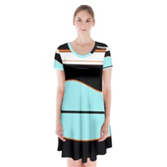 Cyan, black and white waves Short Sleeve V-neck Flare Dress