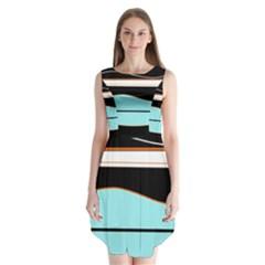 Cyan, black and white waves Sleeveless Chiffon Dress