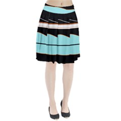 Cyan, black and white waves Pleated Skirt