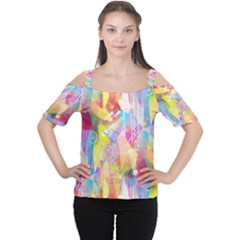 Painted Chaos Women s Cutout Shoulder Tee