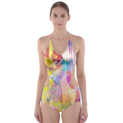 Painted Chaos Cut-Out One Piece Swimsuit