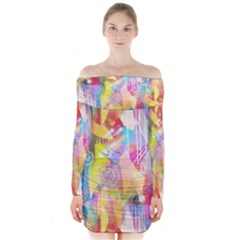 Painted Chaos Long Sleeve Off Shoulder Dress