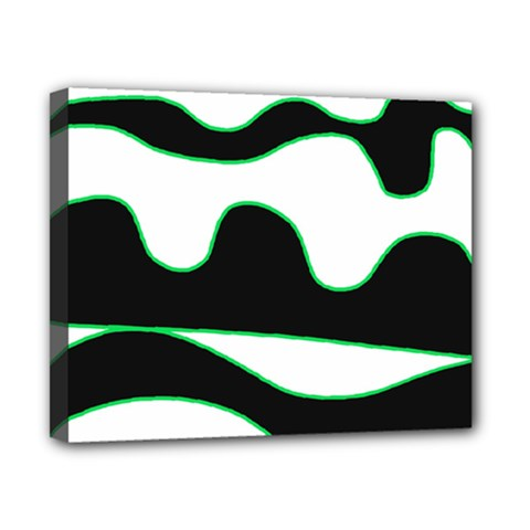 Green, white and black Canvas 10  x 8
