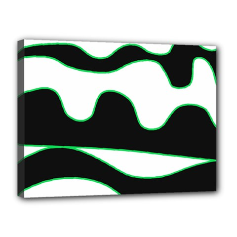 Green, white and black Canvas 16  x 12