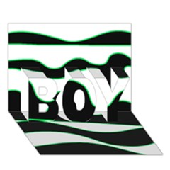 Green, white and black BOY 3D Greeting Card (7x5)