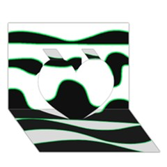 Green, white and black Heart 3D Greeting Card (7x5)