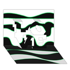 Green, white and black LOVE 3D Greeting Card (7x5)