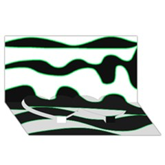 Green, white and black Twin Heart Bottom 3D Greeting Card (8x4)