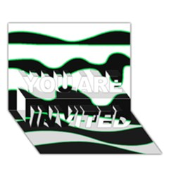 Green, White And Black You Are Invited 3d Greeting Card (7x5)