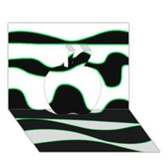 Green, white and black Apple 3D Greeting Card (7x5)