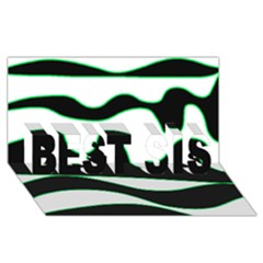 Green, white and black BEST SIS 3D Greeting Card (8x4)
