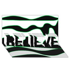 Green, white and black BELIEVE 3D Greeting Card (8x4)