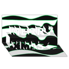 Green, White And Black Merry Xmas 3d Greeting Card (8x4)