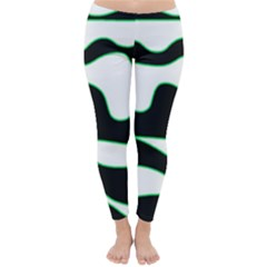 Green, white and black Winter Leggings