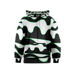 Green, white and black Kids  Zipper Hoodie