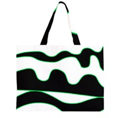 Green, white and black Large Tote Bag