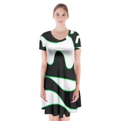 Green, White And Black Short Sleeve V Neck Flare Dress
