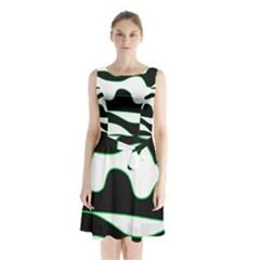 Green, white and black Sleeveless Chiffon Waist Tie Dress