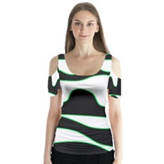 Green, white and black Butterfly Sleeve Cutout Tee