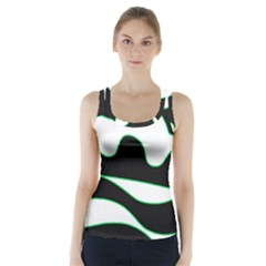 Green, White And Black Racer Back Sports Top