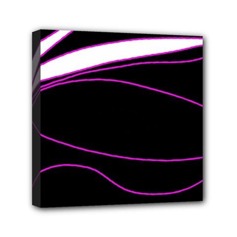 Purple, white and black lines Mini Canvas 6  x 6