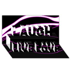 Purple, white and black lines Laugh Live Love 3D Greeting Card (8x4)
