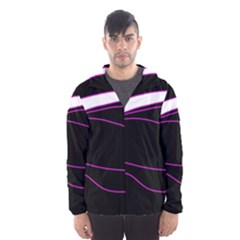Purple, white and black lines Hooded Wind Breaker (Men)
