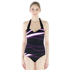 Purple, white and black lines Halter Swimsuit