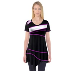Purple, white and black lines Short Sleeve Tunic