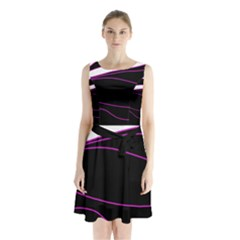 Purple, white and black lines Sleeveless Chiffon Waist Tie Dress
